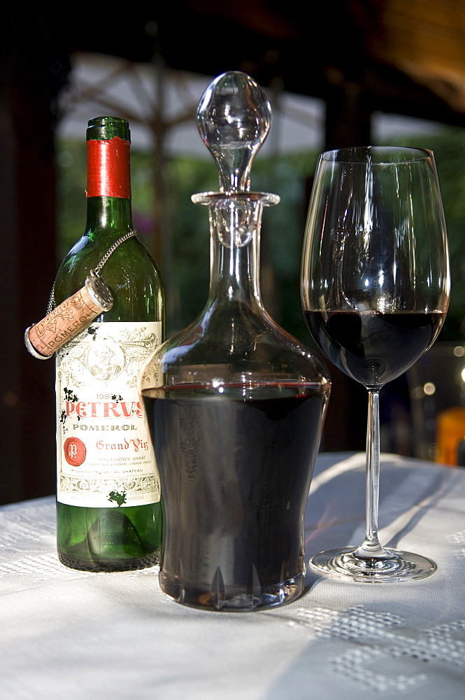 Chateau Petrus Grand Cru Classe, Pomerol, bordeaux glass, wine carafe