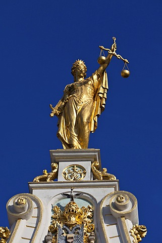 Statue of Lady Justice on the gilted Palace of Justice, old town of Bruges, UNESCO World Heritage Site, West Flanders, Flemish Region, Belgium, Europe