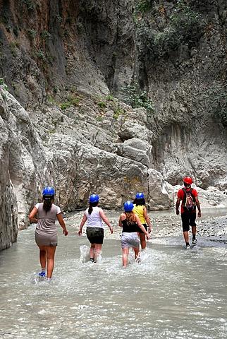Day trip for tourists, Saklikent Canyon nature park, Esen Cay whitewater gorge, rock canyon in the Ak daglar, Akdagi Mountains, Fethiye in Mugla province, Turkey, Eurasia
