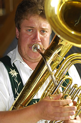 Brass instrumentalist, Allgaeu, Bavaria, Germany, Europe