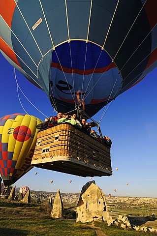 Balloon flight over the valley of Goereme, Cappadocia, Turkey, Western Asia