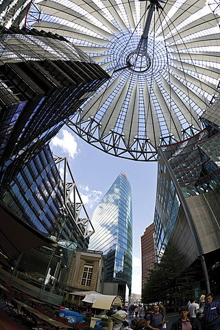 Roof of the Sony Center and the Bahntower (German Rail) building, Potsdamer Platz Square, Berlin, Germany, Europe
