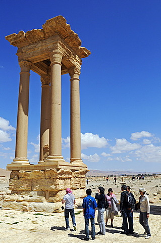 Pylon in the tetra pylon at the excavation site of Palmyra, Tadmur, Syria, Asia