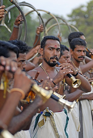 Musicians, Hindu Pooram festival, Thrissur, Kerala, southern India, Asia