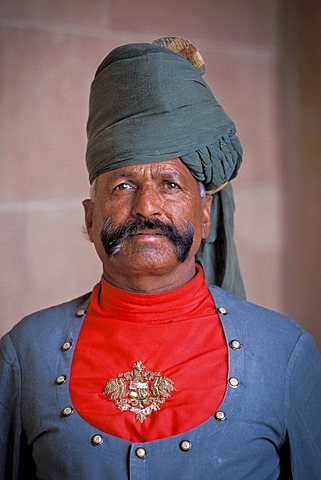 Doorman, foyer, Palace Hotel, Umaid Bavan Palace or Umaid Bhawan Palace, Jodhpur, Rajasthan, India, Asia