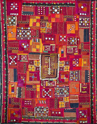 Indian tapestry with cowrie shells and mirrors, Jodhpur, Rajasthan, India, Asia - 832-372424