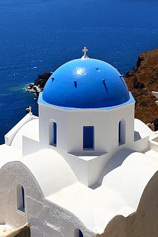 Blue domed Byzantine Orthodox church, Oia, Ia, Santorini, Cyclades Islands, Greece, Europe