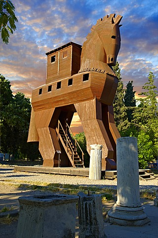 Replica of the wooden horse of Troy archaeological site, UNESCO World Heritage Site, Turkey