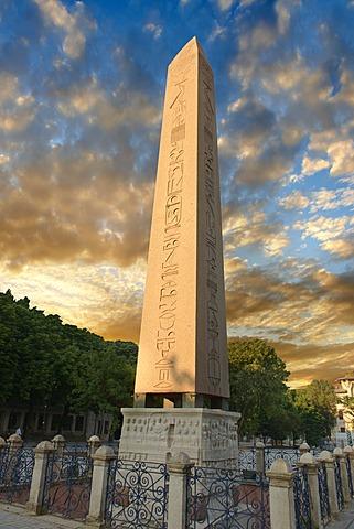 The base of the Egyptian Obelisk of Thutmosis III, Dikilitas, Istanbul, Turkey