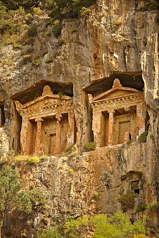 Hellenistic temple, carved into the Carian rock tombs of Caunos, Turkey