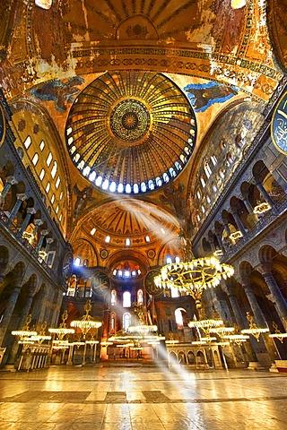 Islamic decoration on the domes of the interior of Hagia Sophia, Ayasofya, Istanbul, Turkey