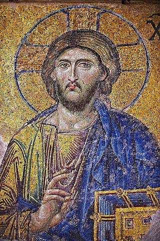 Byzantine Deësis, Entreaty, mosaic, 1261, detail of Christ Pantocrator for humanity on Judgment Day, Hagia Sophia, Istanbul, Turkey