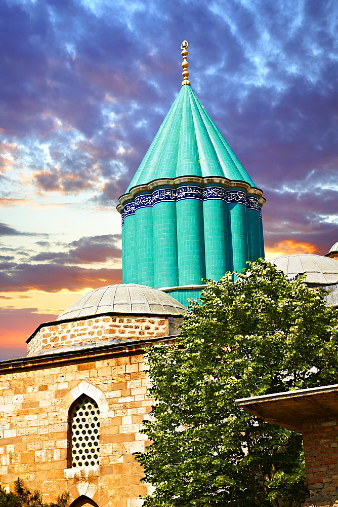 Mevl√¢na museum, with the blue domed mausoleum of Jalal ad-Din Muhammad Rumi, the dervish lodge, tekke, of the Mevlevi order, Konya, Turkey