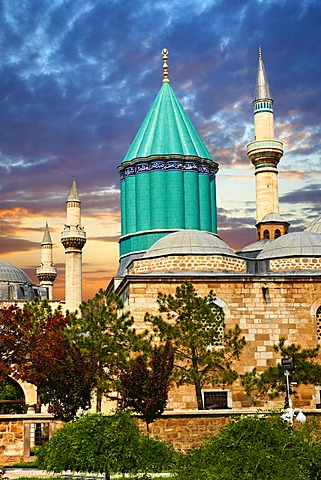 Mevl√¢na museum, with the blue domed mausoleum of Jalal ad-Din Muhammad Rumi, a Sufi mystic also known as Mevl√¢na or Rumi, Konya, Turkey