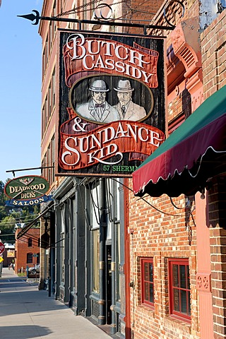 Sign, Butch Cassidy & the Sundance Kid, historical Wild West town, Sherman Street, Deadwood, South Dakota, USA, United States of America, North America