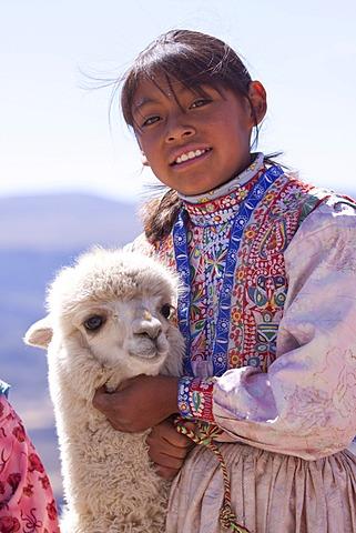Girl with Alpaca, near Arequipa, Peru, South America