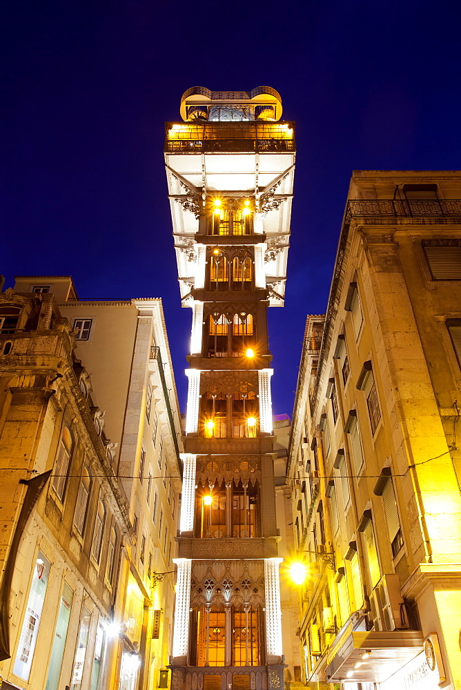 Elevador de Santa Justa, Santa Justa Elevator, at night, connecting the two historic districts of Baixa and Chiado, Lisbon, Portugal, Europe