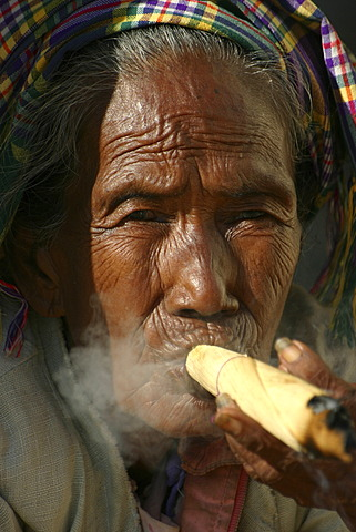 Old woman with cigar, Bagan, Myanmar