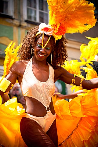 Female samba dancer, Samba Festival, Coburg, Bavaria, Germany, Europe