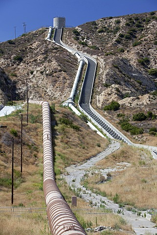 Water transported from Owens Valley through the Los Angeles Aqueduct enters Los Angeles at The Cascades, Sylmar, California, USA