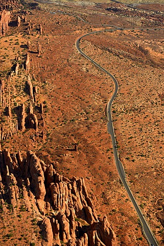 Aerial view of Fiery Furnace rock garden, scenic road, Arches National Park, Moab, Utah, United States of America, USA