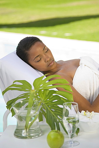 Young woman is enjoying a wellness and spa day
