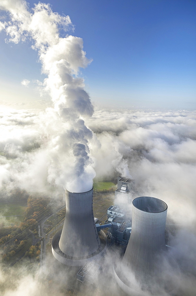 RWE power plant Westfalen, the power plant sticks out of the low cloud cover, Hamm, Ruhr Area, North Rhine-Westphalia, Germany, Europe