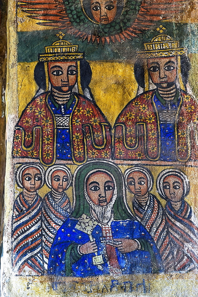 The two royal brothers Abreha and Atsbeha (Ezana and Saizana), untena Abba Salama (Frumentius), Canvas paintings in the Orthodox Church Abreha wa Atsbaha, Gheralta Region, Tigray, Ethiopia, Africa