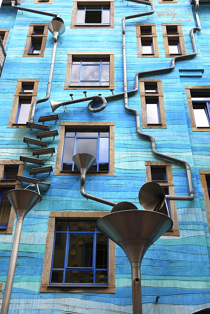 Blue house facade with rain pipes, art project for the element water, courtyard of the elements, Kunsthofpassage, artists Annette Paul, Christoph Rossner and Andre Tempel, Antonstadt, Dresden, Saxony, Germany, Europe