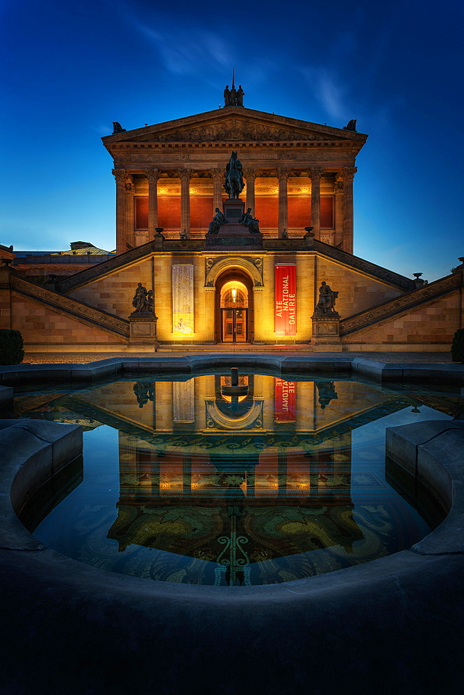 Old national gallery at dusk, Museum Island, Berlin-Mitte, Berlin, Germany, Europe