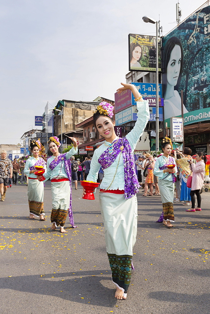 Young womans at flower festival parade, Chiang Mai, Thailand, Asia