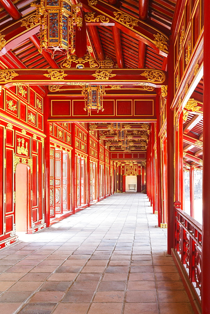 Right mandarin building or mandarin building 2 walkway at the imperial citadel of Hue, Vietnam, Asia