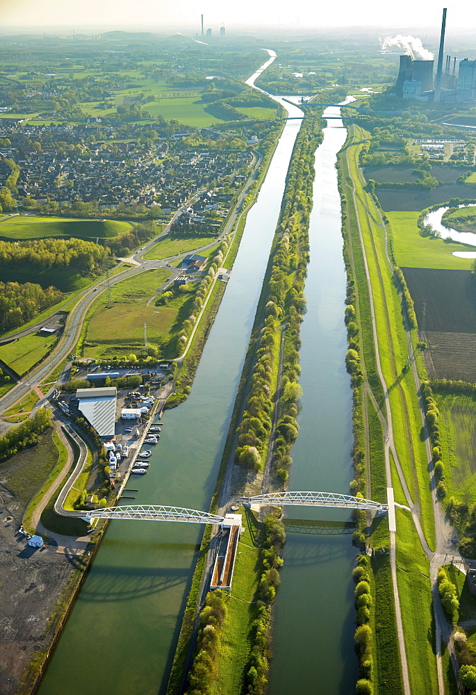 Aerial view, Lippepark Bridges and Datteln-Hamm Canal, Hamm, Ruhr district, North Rhine-Westphalia, Germany, Europe