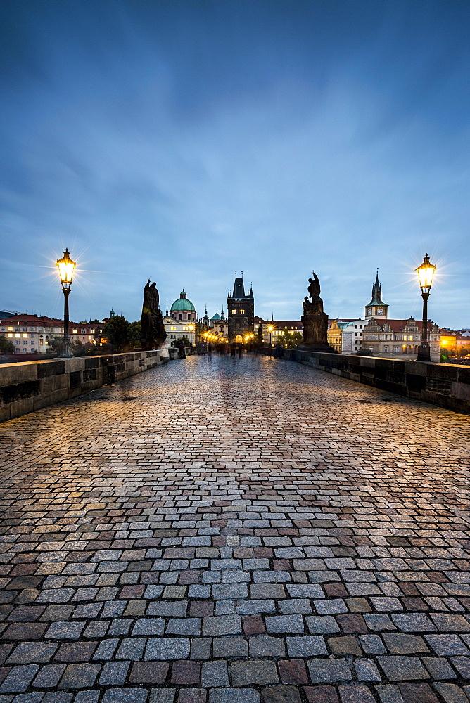 Charles Bridge at dusk, Prague, Bohemia, Czech Republic, Europe