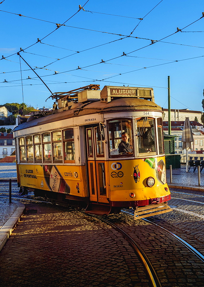 Typical tram, Carros eléctricos, Alfama, Lisbon, Portugal, Europe