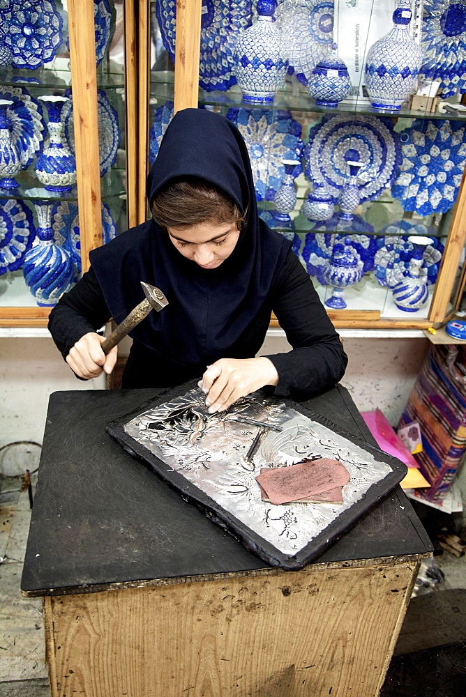 Woman working on copper, handicraft, Isfahan, Iran, Asia - 832-380117
