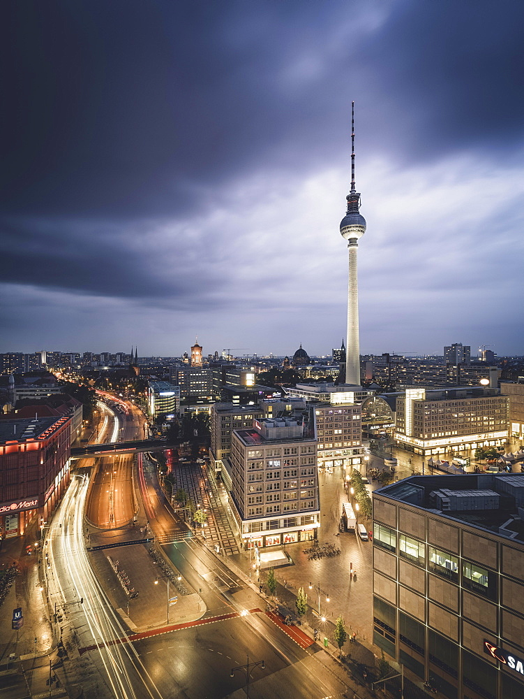 Alexanderplatz and Berlin television tower, blue hour, thunderstorm, Berlin, Germany, Europe