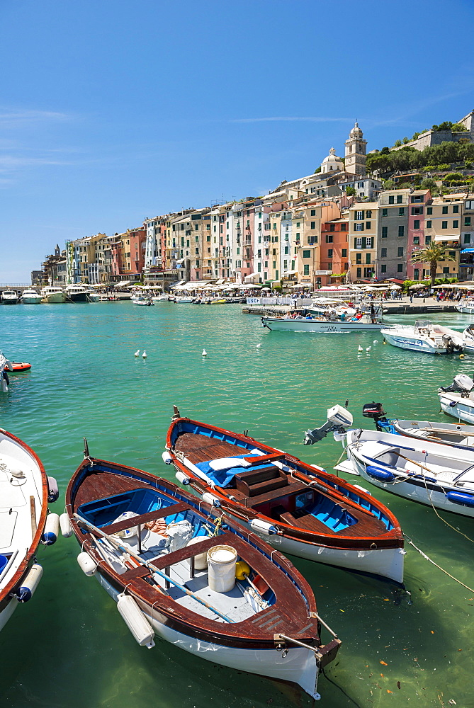 Fishing boats in harbour, Porto Venere, Portovenere, Cinque Terre, Liguria, Italy, Europe