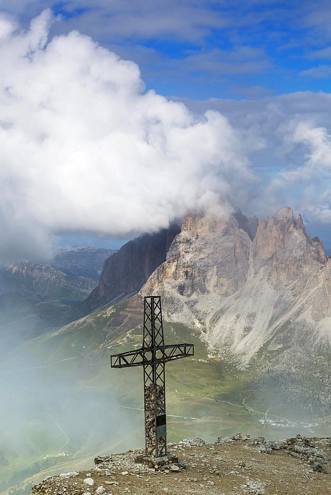 Sass Pordoi, summit cross, Dolomites, South Tyrol, Italy, Europe