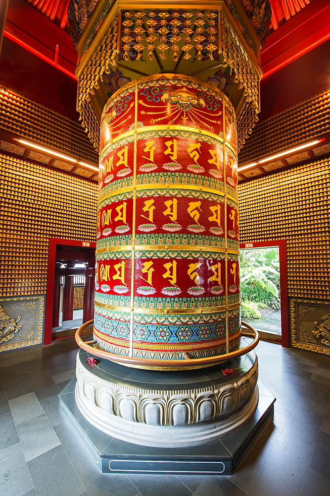 Vairocana Buddha Prayer Wheel in the Ten Thousands Buddhas Pavilion, Buddha Tooth Relic Temple, Chinatown, Singapore, Asia