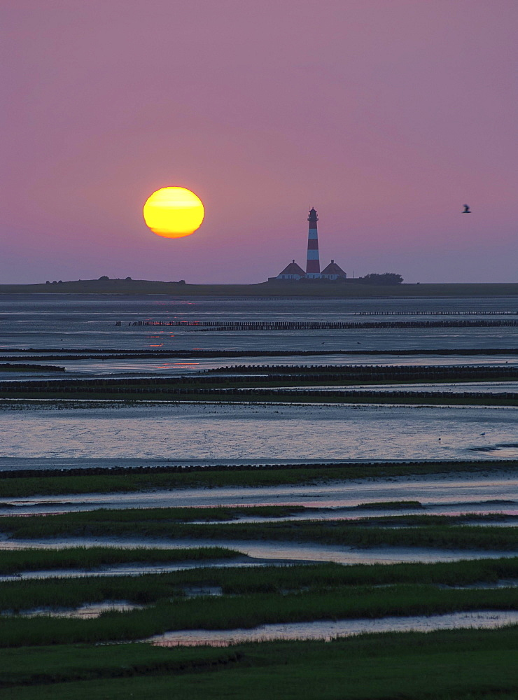 Westerhever Lighthouse at sunset behind Tümlau Bay, Tümlauer-Koog, Westerheversand, Schleswig-Holstein, Germany, Europe