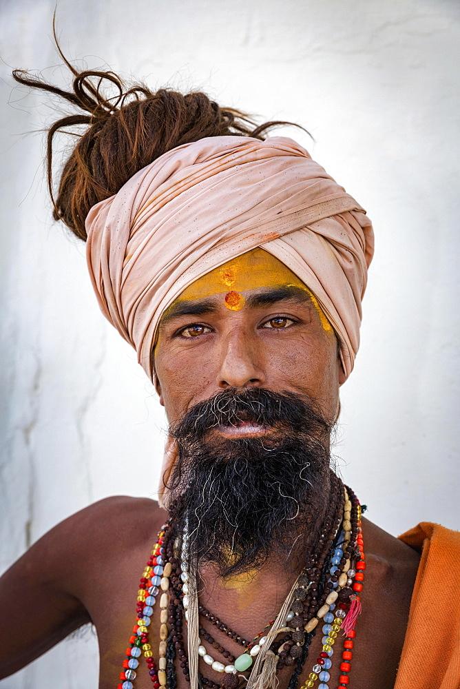 Sadhu, portrait, Pushkar, Rajasthan, India, Asia - 832-381203