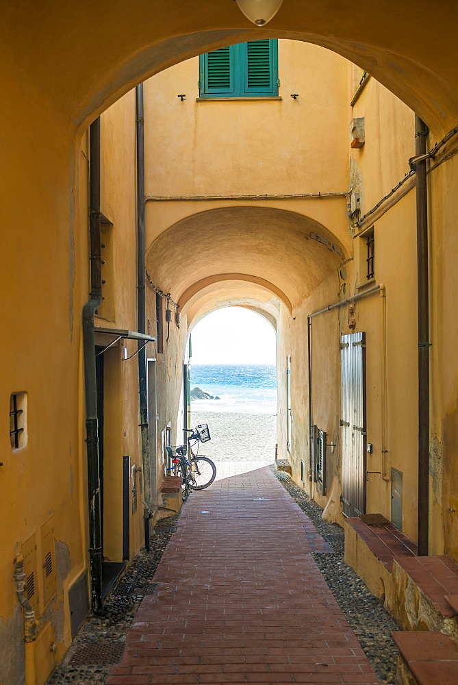 Passage in a house on the coast, Varigotti, Finale Ligure, Riviera di Ponente, Liguria, Italy, Europe