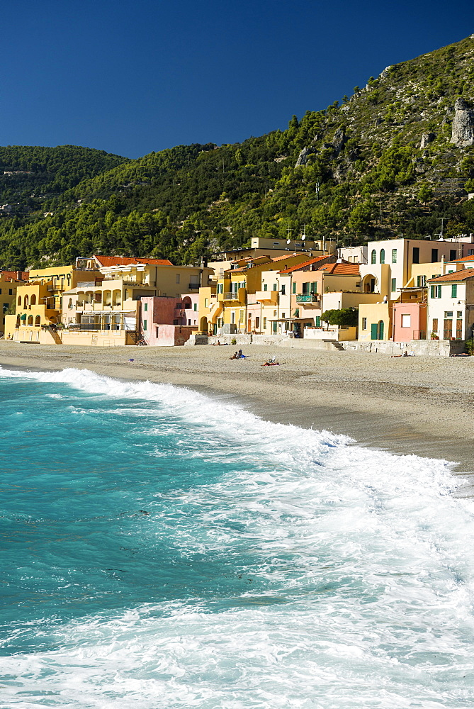 Typical houses on the beach, Varigotti, Finale Ligure, Riviera di Ponente, Liguria, Italy, Europe
