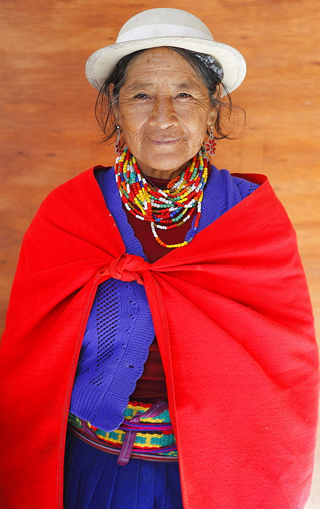 Indigena, indigenous woman in traditional costume, Chimborazo Province, Ecuador, South America