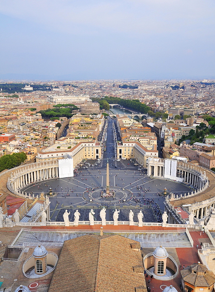 View over St. Peter's Square from the dome of St. Peter's Basilica. Vatican, Rome, Lazio, Italy, Europe