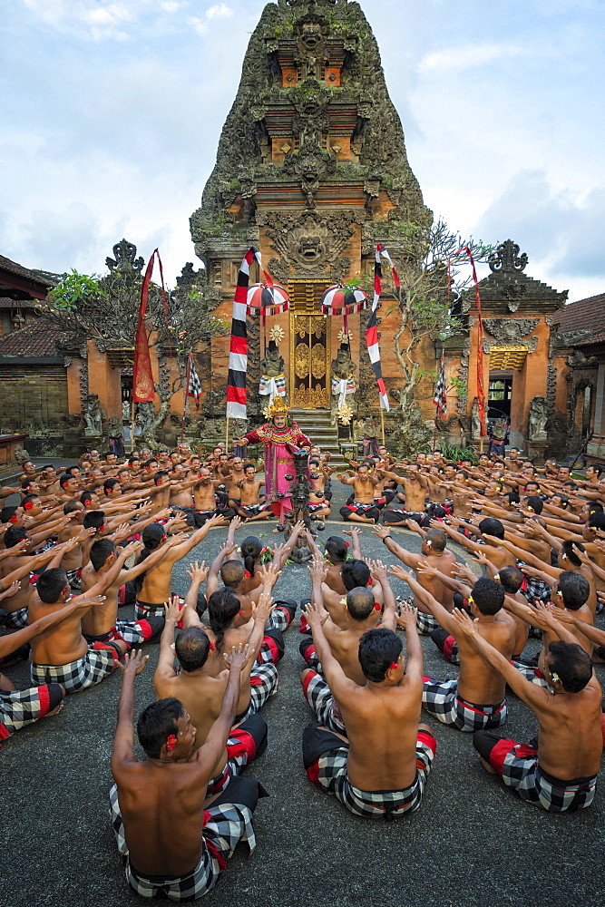 Performance of the Balinese Kecak dance, Ubud, Bali, Indonesia, Asia