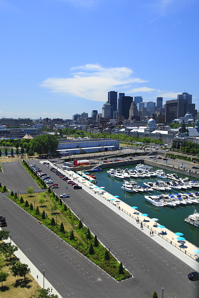 City view from the clock tower, with yacht club and beach, Montreal, Quebec Province, Canada, North America