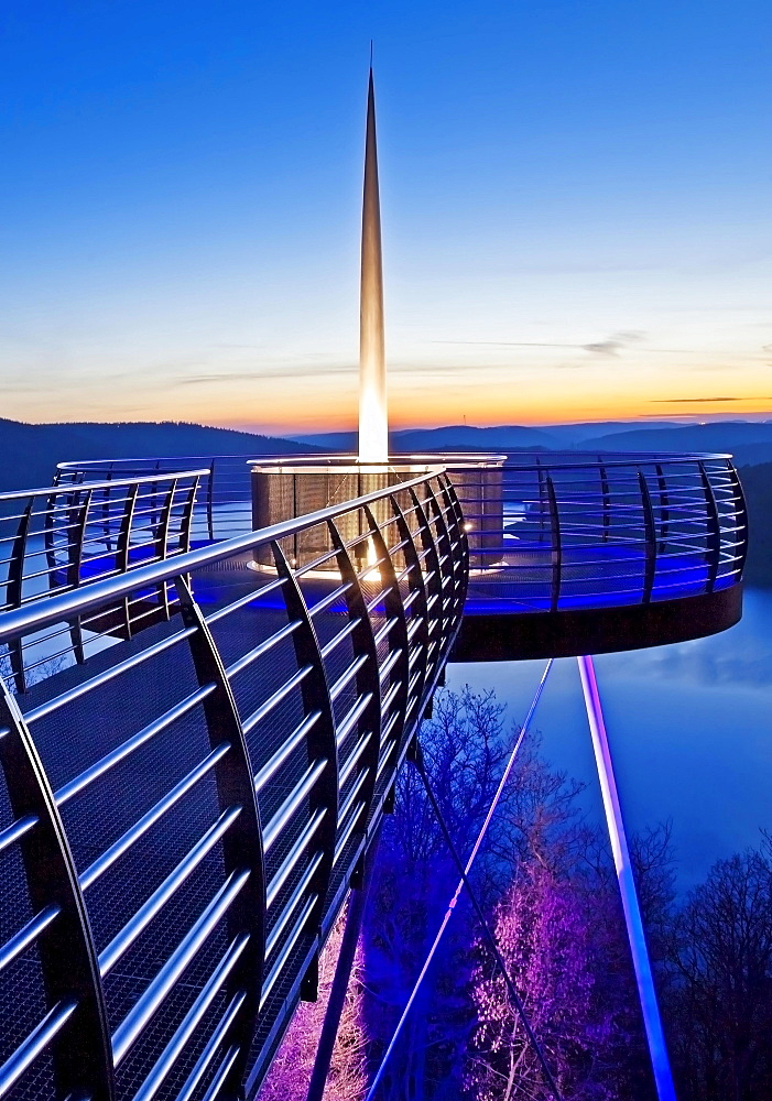 Illuminated viewing platform Biggeblick, Biggesee reservoir, Attendorn, Sauerland, North Rhine-Westphalia, Germany, Europe