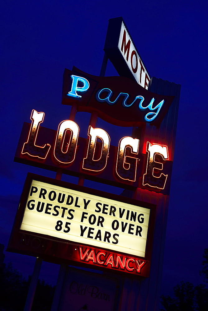 Retro neon advertising of the Parry Lodge in Kanab, Utah, USA, North America